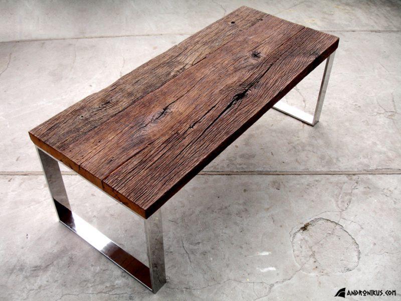 stół ze starego drewna dąb stal nierdzewna