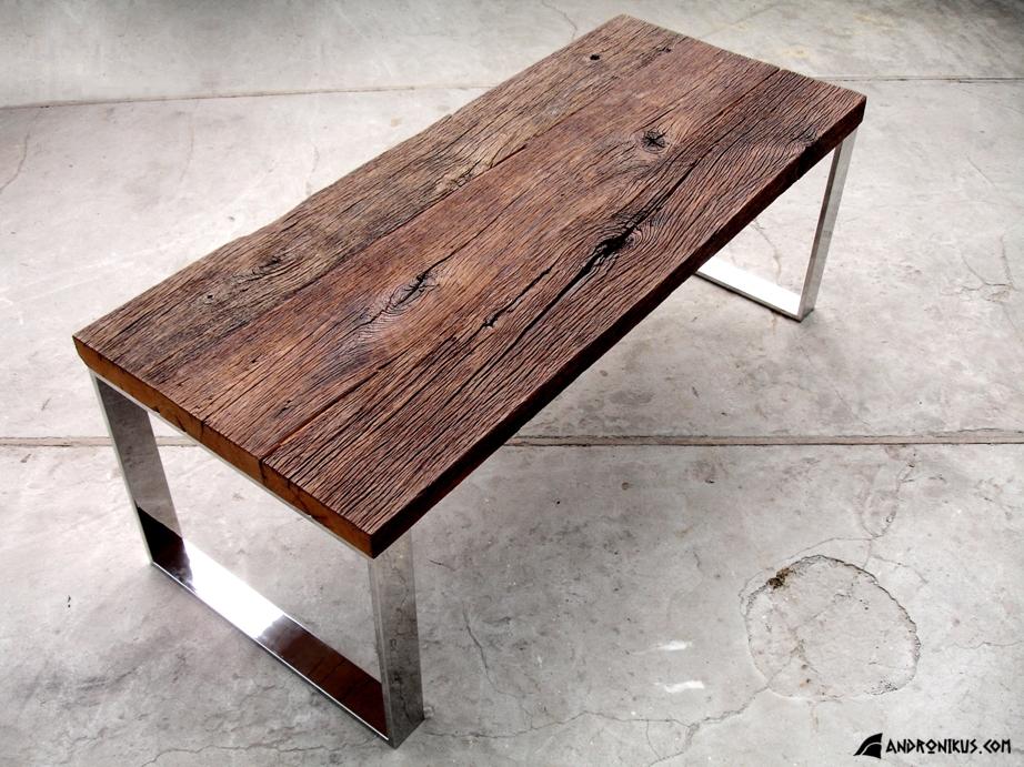 stół z drewna dębowego nieheblowanego