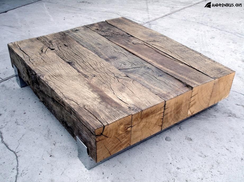 ława - stolik z drewna dębowego nieheblowanego
