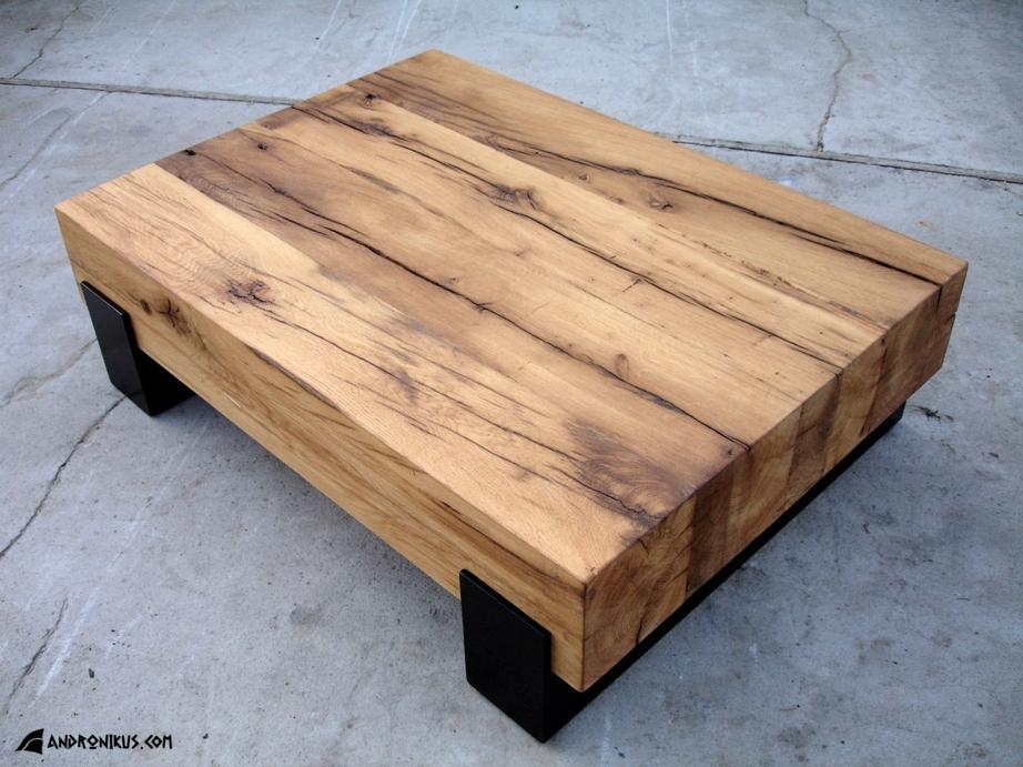 ława - stolik z drewna dębowego heblowanego