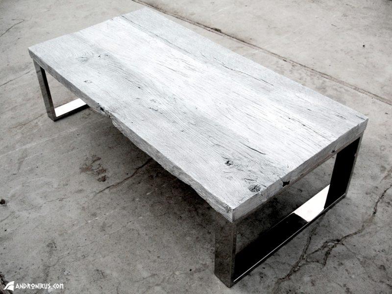 stolik kawowy stare drewno dębowe bielone