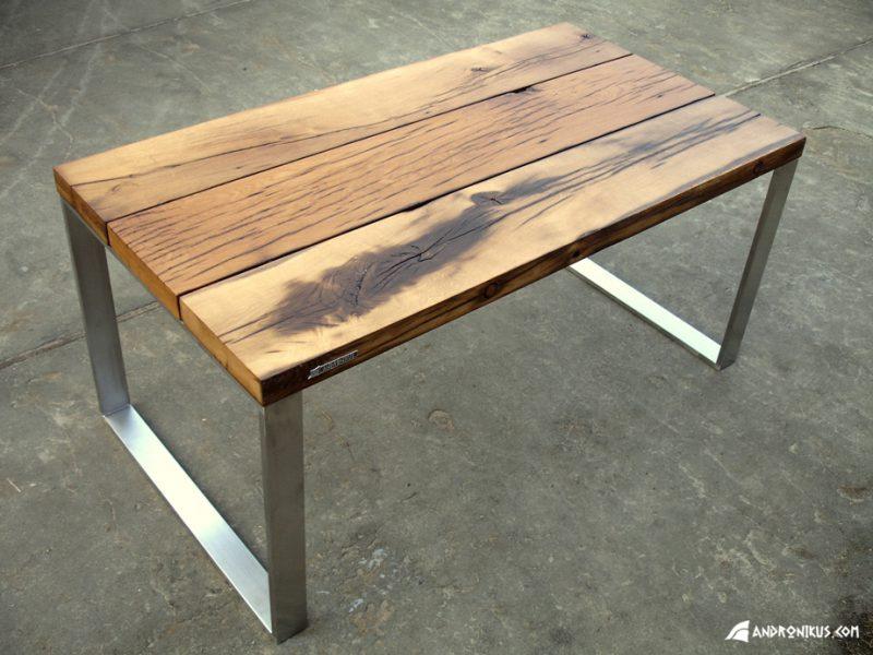 stół ze starego dębu z rozbiórki nogi ze stali nierdzewnej