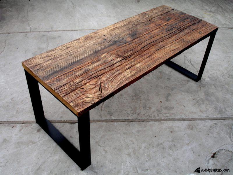stół ze starego dębu z rozbiórki metalowe nogi