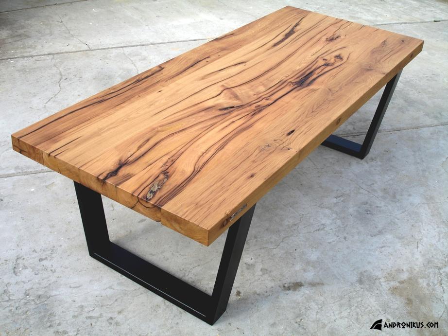 stół z drewna dębowego heblowanego