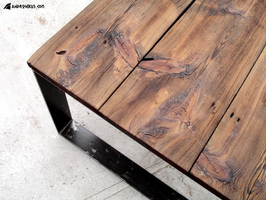 Stolik Kawowy Stare Deski Metal Meble Ze Starego Drewna