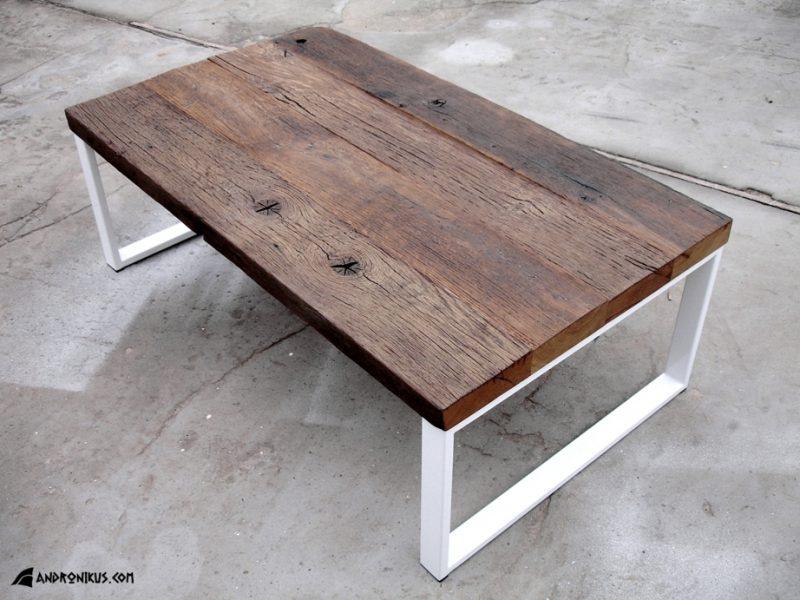 stolik kawowy stare drewno dębowe metal