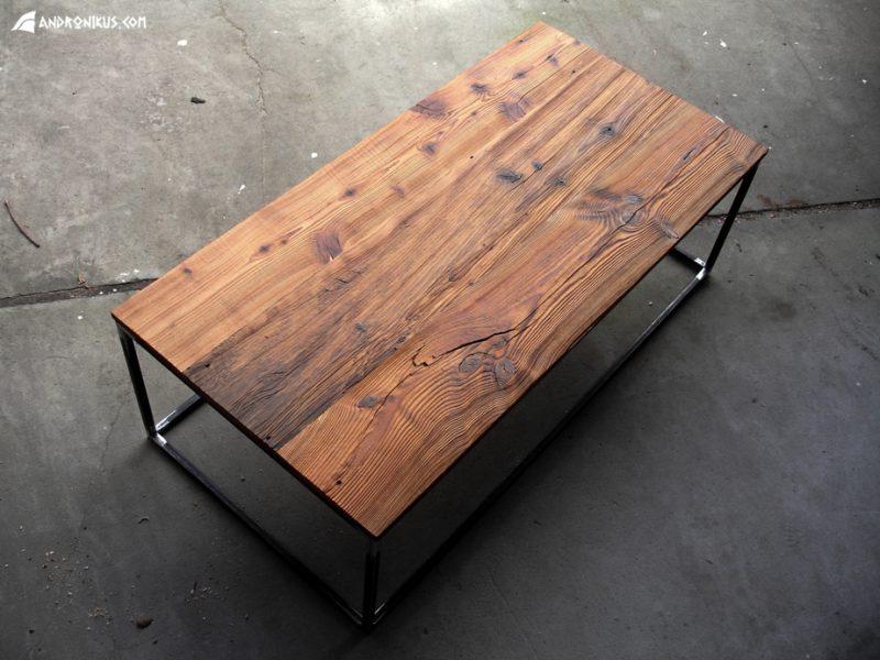 stolik kawowy ze starych desek metal