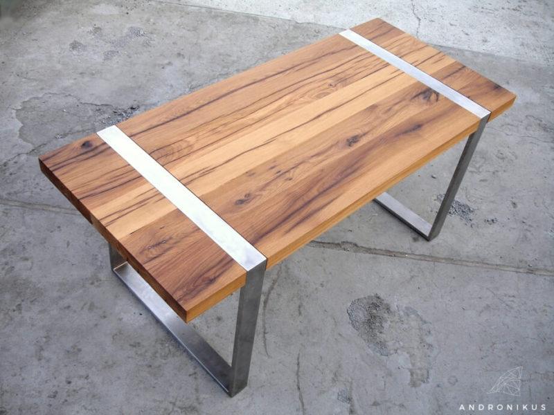 stół ze starego drewna stal nierdzewna